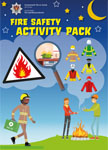 Fire safety activity pack cover with different uniforms and people around a campfire