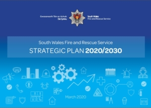 Strategic plan front cover in blue with various arrows and icons
