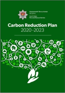 Carbon Reduction Plan front cover of tree diagram and icons