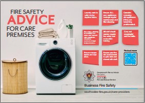 Picture of tumble dryer with safety tips for care premises